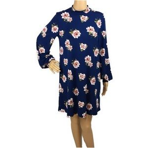 Everly Long Sleeve Navy Floral Shift Dress